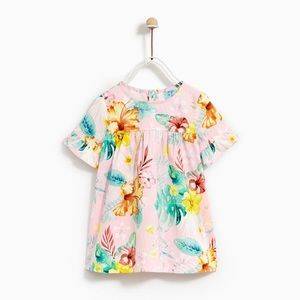 Zara Girls 2-3 Year Dress with Ruffles Sleeves